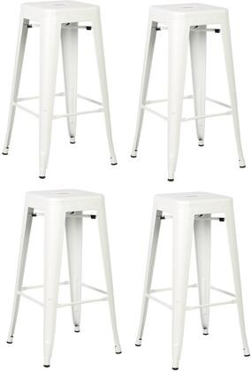 EdgeMod EM126WHIX4 Trattoria Series Commercial Not Upholstered Bar Stool