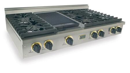 """FiveStar TTN0477 48"""" Sealed Burner Pro-Style Natural Gas Rangetop With 6 Sealed Ultra High-Low Burners, Double Sided Grill/Griddle, Electronic Ignition, Cast Iron Grates, In"""