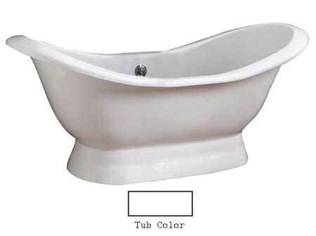 """Barclay CTDSN72B Oxnard 72"""" Cast Iron Double Slipper Tub with Structured Base, in"""