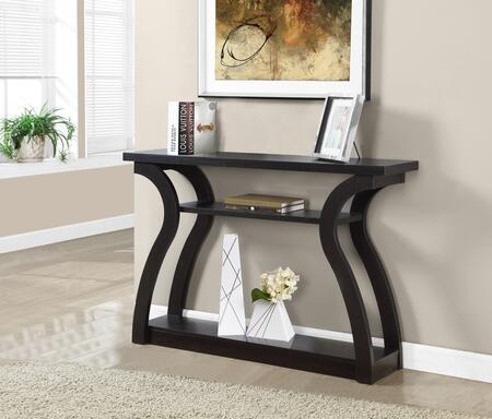 "Monarch I 244X 47"" Accent Table with Curved Base, Three Tiered and Bottom Shelf"