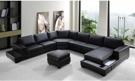 VIG Furniture VG2T0693- Ritz Collection Luxurious Soft Black Sectional Sofa with 2 Ambient Lights On the Chaise Frame