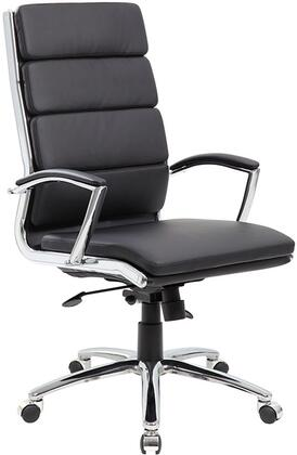 """Boss B9471 43"""" Executive Chair with Metal Chrome Plated Arms, Hard Arm Pads, Spring Tilt Mechanism, Upright Locking Position and Seat Height Adjustment"""