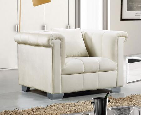 "Meridian Kayla Collection 615X-C 46"" Chair with Velvet Upholstery, Chrome Legs and Contemporary Style in"
