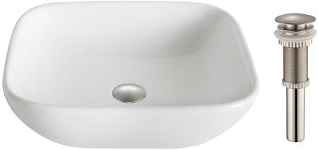"""Kraus KCV127X Elavo Series 19"""" Soft Square Countertop Bathroom Basin Sink with Overflow, High-Gloss Finish, and Included Pop-Up Drain"""