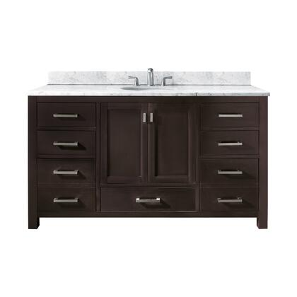 "Avanity Modero MODERO-V60-XX-A 60"" Single Vanity Only with Brushed Nickel Hardware, 2 Doors, 7 Drawers, and Adjustable Height Levelers"