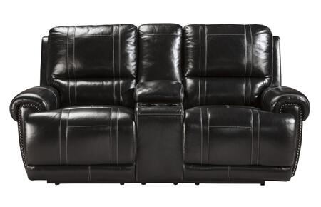 Signature Design by Ashley Paron U7590 Double Reclining Loveseat with Storage Console, Cup Holders, Padded Arms and Divided Back Cushions in