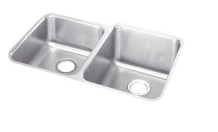 Elkay ELUH3120 Lustertone Double Bowl Undermount Sink Small Bowl on