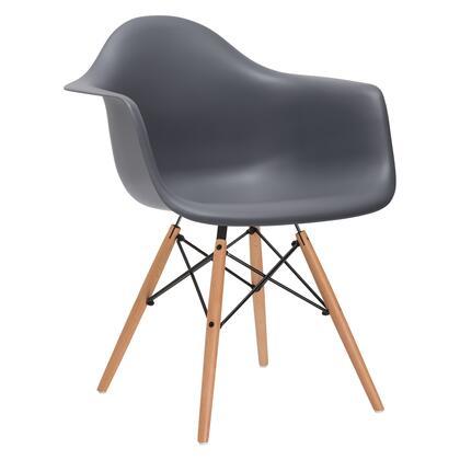 EdgeMod EM110NATGRY Vortex Series Modern Wood Frame Dining Room Chair