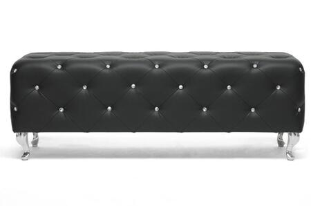 Wholesale Interiors Baxton Studio BBT5119 Stella Modern Bench with Faux Crystal Button Tufting, Polyurethane Foam Cushioning, Rubberwood Frame and Faux Leather Upholstery
