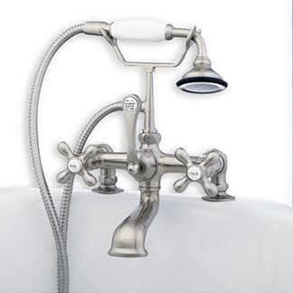 Cambridge CAM4632 Clawfoot Tub Deck Mount Brass Faucet with Hand Held Shower