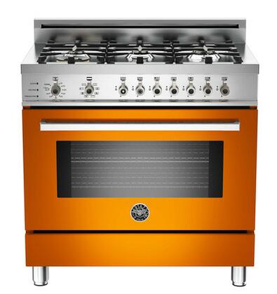 "Bertazzoni PRO366DFSAR 36"" Professional Series Dual Fuel Freestanding Range with Sealed Burner Cooktop, 4.0 cu. ft. Primary Oven Capacity, in Orange"