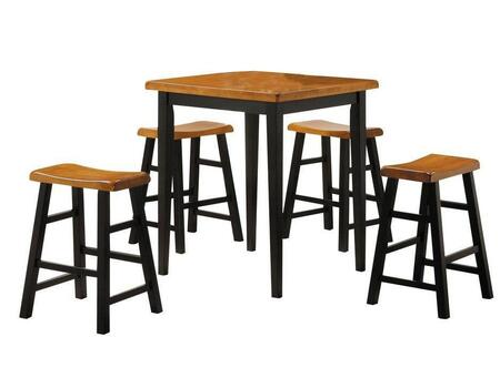 Acme Furniture Gaucho Collection 5 PC Dining Set with Counter Height Table, 4 Counter Height Stools, Saddle Seat and Solid Rubberwood Materials in