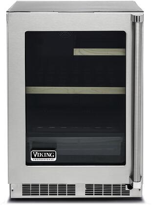 """Viking VRUI5240G 24"""" Energy Star Rated Professional 5 Series Undercounter Refrigerator with 5.3 cu. ft. Capacity, Dual Pane Glass Door, UV Protection, Dynamic Cooling System, and MaxStore Smooth-Glide Clear Utility Bin: Stainless Steel"""