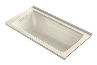 """Kohler K-1947-VBLW Archer VibrAcoustic 60"""" x 30"""" Three-Wall Alcove Bath Tub with Bask Heated Surface, Integral Flange, and Left-Hand Drain in"""