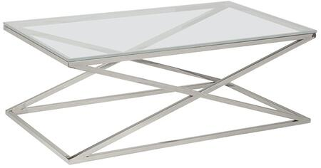 "Allan Copley Designs 20804-01-XX 28"" Width Excel Rectangle Cocktail Table With XX Glass Top On Polished Stainless Steel Base, 1/2"" Thick Lay-On XX Glass Top, ""X"" Base Design"