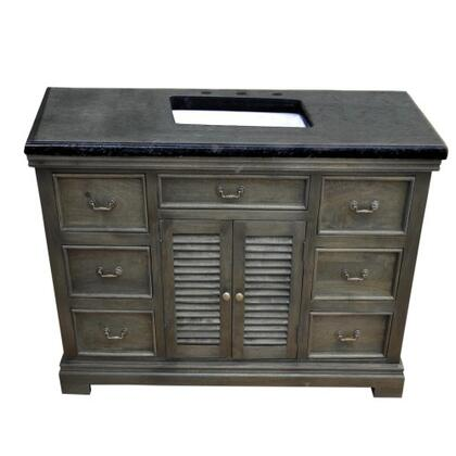 "Yosemite YVGD48SV 48"" Single Vanity with Black Granite Top, 1 Cabinet and 6 Side Drawers"