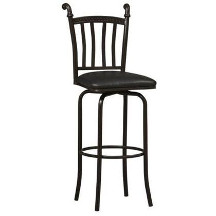 Linon 02757MTL01KDU Mission Series PVC Upholstered Bar Stool