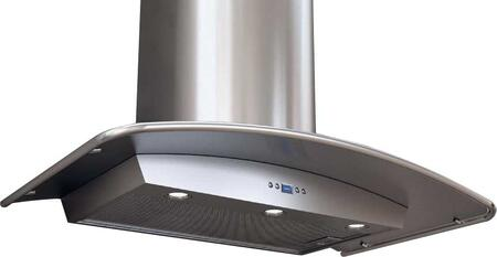 """Zephyr ZMIM90B 36"""" Essential Europa Series Milano Chimney Style Wall Mount Range Hood with 715 CFM Internal Blower, ACT Internal Blower, DCBL Suppression System, Bloom HD LED Lighting and X in Stainless Steel"""