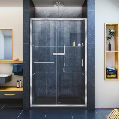 Infinity Z Shower Door 48 Chrome Black Base