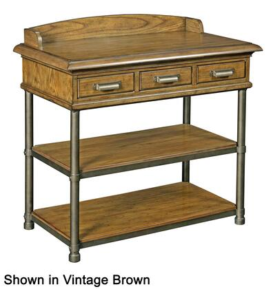 "Broyhill New Vintage 480X-291 33.5"" Wide 3-Drawer Night Table with 2 Shelves, Metal Feet and Raised Board on Table Top in"
