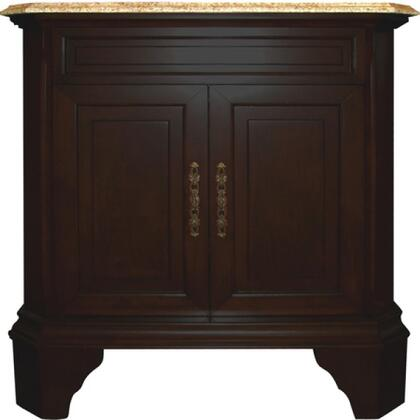 """Yosemite TAMARACK32SV 32"""" Single Vanity with Decorative Hardware, White Undermount Ceramic Basin, Two-Doored Shelves Cabinet and Widespread Faucet Holes"""