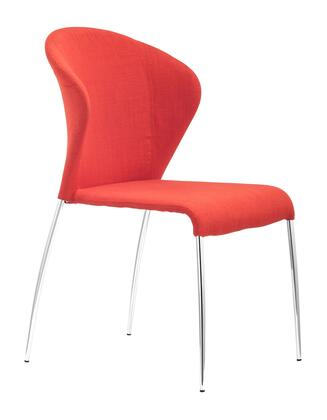 """Zuo 10004 Oulu 21"""" Dining Chair with Chromed Steel Frame and Polyblend Upholstery"""