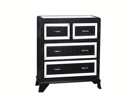 "Powell Glamour Collection 14A2019CO 42"" Chest with Four Drawers, Glossy Crocodile Print and Mirrored Inset Top in"