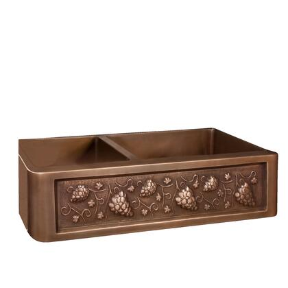 Barclay FSCDB350SAC Concord Double Bowl 16 Gauge Copper Hand Polished Double Bowl Sink with Front Grapevine Design