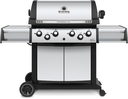 """Broil King 98884x 24"""" Sovereign XLS 90 X Gas Grill has 4 Burners , 50000 BTU Main Burner Output, 10000 BTU side burner, (Rotisserie info), 1000 sq. inches cooking area, in Stainless Steel"""