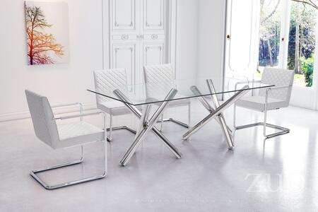 Zuo 1003XX Stant Dining Table with Two Stainless Steel Cross Base and Clear Tempered Glass Top