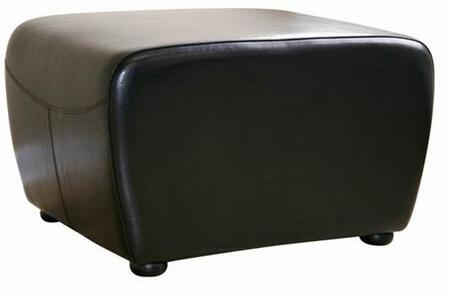 Wholesale Interiors Y-051- Full Leather Ottoman with Rounded Sides
