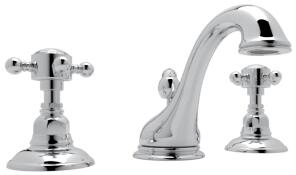 Rohl A1408XC Italian Country Bath Collection Viaggio Deck Mounted C-Spout Lavatory Faucet with 1.2 GPM Water Flow and Swarovski Crystal Cross Handles in
