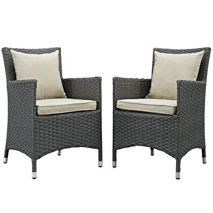 Modway Sojourn Collection EEI-2242-CHC- 2-Piece Outdoor Patio Sunbrella Dining Set with 2 Armchairs