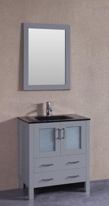 "Bosconi AGR130BGUX XX"" Single Vanity with Black Tempered Glass Top, Integrated Sink, F-S01 Faucet, Mirror, 2 Doors and X Drawers in Grey"