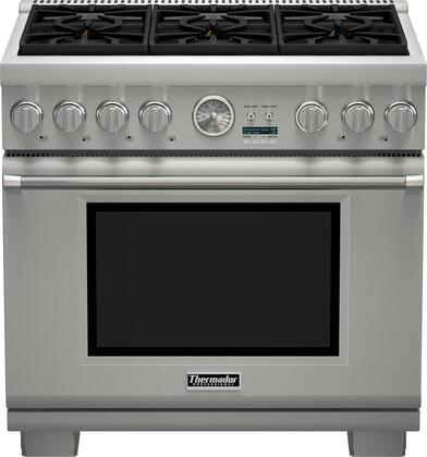 """Thermador PRX366JG 36"""" Pro Grand Professional Series Freestanding Gas Range with 6 Sealed Burners, 5.5 Cu. Ft. Convection Oven Capacity, 3 Telescopic Racks, and QuickClean Base: Stainless Steel"""