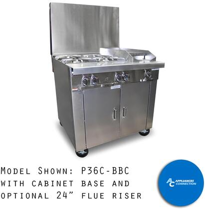 """Southbend P36BBC Platinum Series 36"""" Combination Top with Four Open Top Burners and One Charbroiler, Up to 172000 BTUs (NG)/168000 BTUs (LP)"""