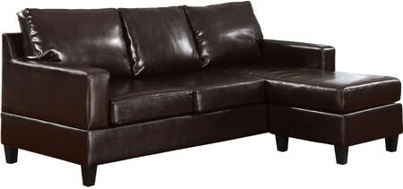 """Acme Furniture Vogue 86"""" Reversible Chaise Sectional with Track Arms, Tapered Plastic Legs, Loose Back Cushions and Upholstery in Espresso Color"""