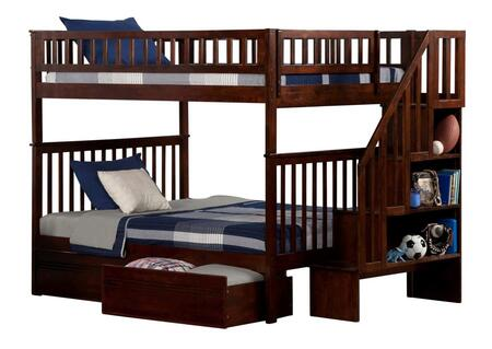 Atlantic Furniture AB5681 Woodland Staircase Bunk Bed Full Over Full With Flat Panel Bed Drawers