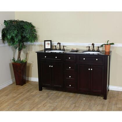 "Bellaterra Home 603210X 62"" Double Sink Vanity Wood"