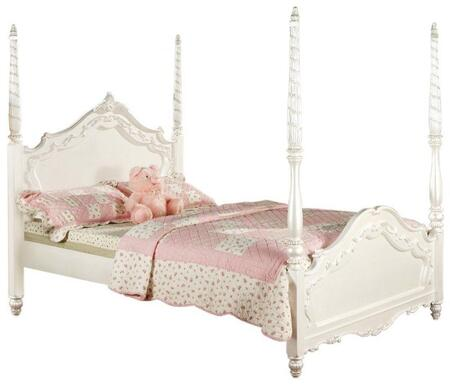 Acme Furniture Pearl Size Poster Bed with Bow Front Decorative Carvings, Turned Legs, Poplar and Medium-Density Fiberboard (MDF) Materials in Pearl White Color