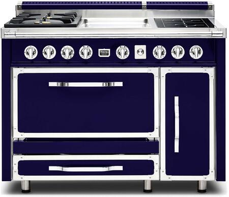 """Viking TVDR480-2GI 48"""" Tuscany Series Professional Dual Fuel Range with 2 Sealed Burners, 2 Induction Elements and a Griddle, Dual Ovens and Porcelain Coated Cast Iron Grates:"""