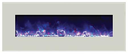 Amantii WMBI728123WHTGLS WMBI Series Wall Mountable Electric Fireplace