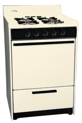 Summit SNM Freestanding Gas Range with 2.9 Cu. Ft. Oven Capacity, Porcelain Construction, Drop-Down Broiler, Recessed Oven Door, Broiler Pan, and Battery Start Ignition in Bisque