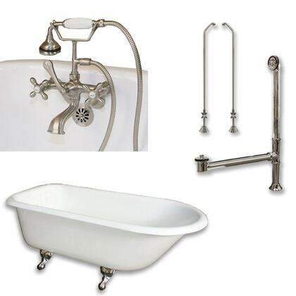 "Cambridge RR55463BTWPKG Cast Iron Rolled Rim Clawfoot Tub 55"" x 30"" with 3 3/8"" Bathtub Wall Faucet Drillings and British Telephone Style Faucet Complete Plumbing Package"