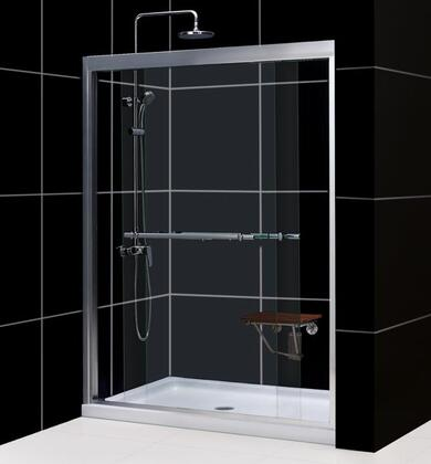 DreamLine DL-695 Duet Frameless Bypass Sliding Shower Door and SlimLine Single Threshold Shower Base in