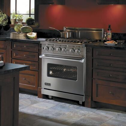 """Viking VDSC5304BXX 30"""" Professional 5 Series Natural Gas Dual Fuel Range with 4 Sealed Burners, 4.7 cu. ft. Oven Capacity, Self-Clean Convection Oven and Surespark Ignition System, in"""
