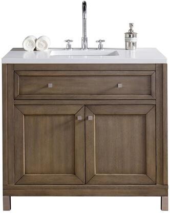 """James Martin Chicago Collection 305-V36-WWW- 36"""" White Washed Walnut Single Vanity with Tip Out Drawer, Two Doors, Satin Nickel Hardware and"""