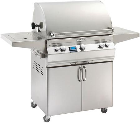 "FireMagic A660S6E1X62 Aurora 63"" Cart with 30"" Grill, E-Burners, Side Shelf, Side Burner, Backburner, Digital Thermometer, and Up to 75000 BTUs Heat Output, in Stainless Steel"