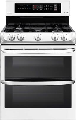"LG LDG4311S 30"" Freestanding Double Oven Gas Range with 5 Sealed Burners, 6.9 cu. ft. Total Oven Capacity, ProBake Convection, EasyClean Technology, 17K BTU SuperBroil Burner, and Glass Touch Controls"