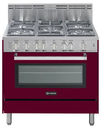 "Verona VEFSGG365BU 36"" Gas Freestanding Range with Sealed Burner Cooktop, 4 cu. ft. Primary Oven Capacity, Storage in Burgundy"